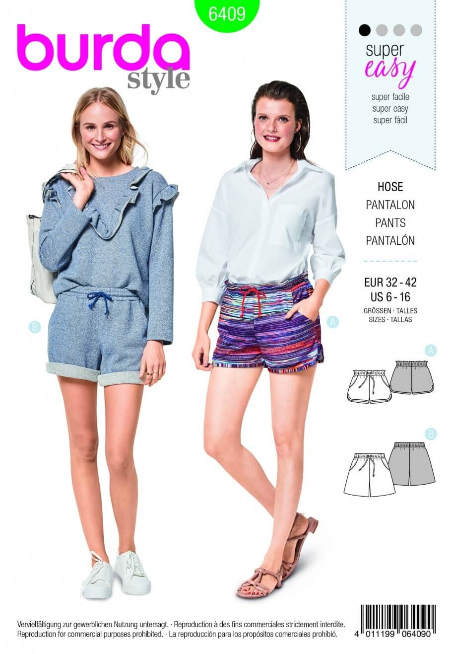 Burda Style Two Styles Of Shorts Fabric Sewing Pattern 6409