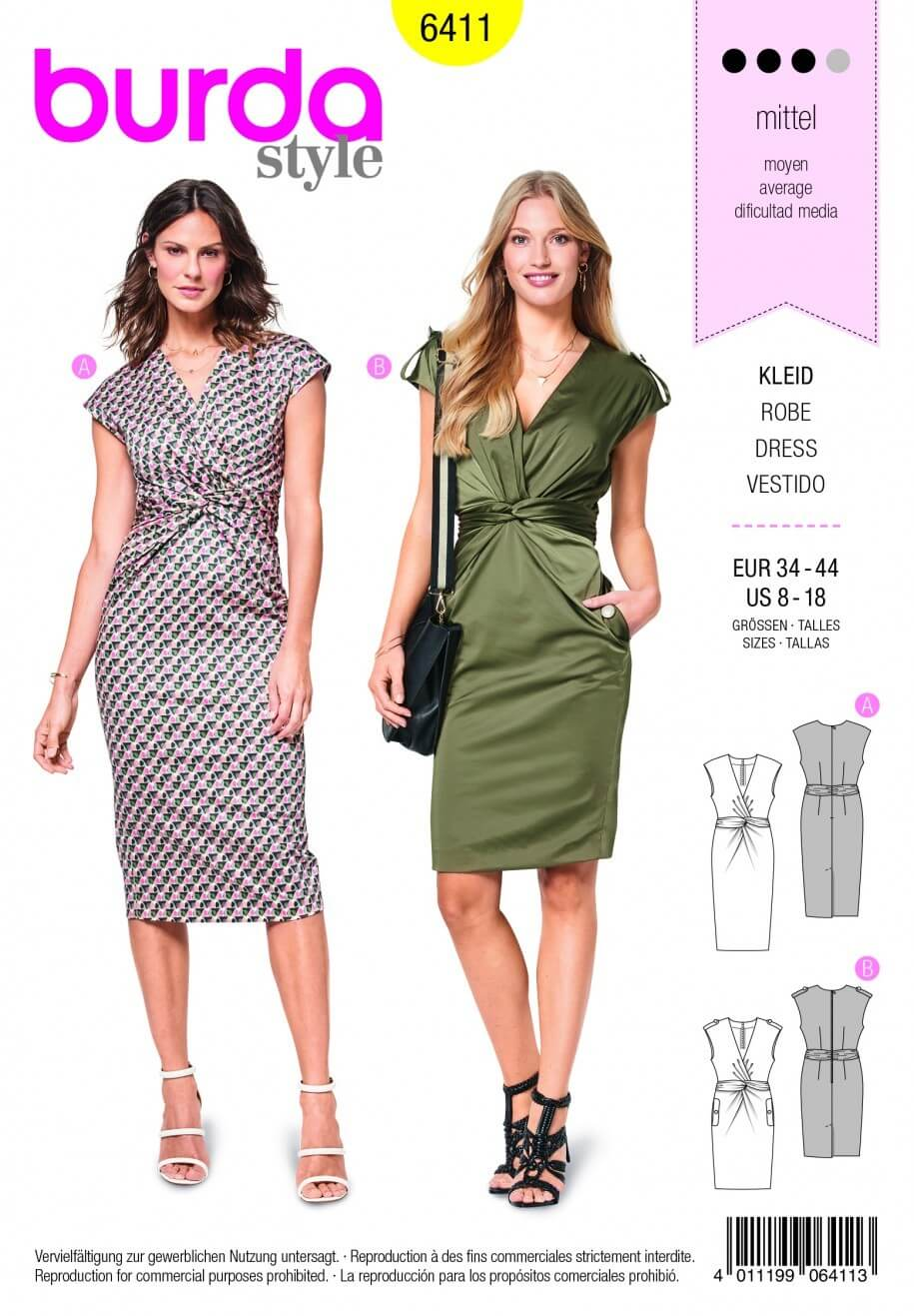 Burda Style Dress With Front Twist Fabric Sewing Pattern 6411