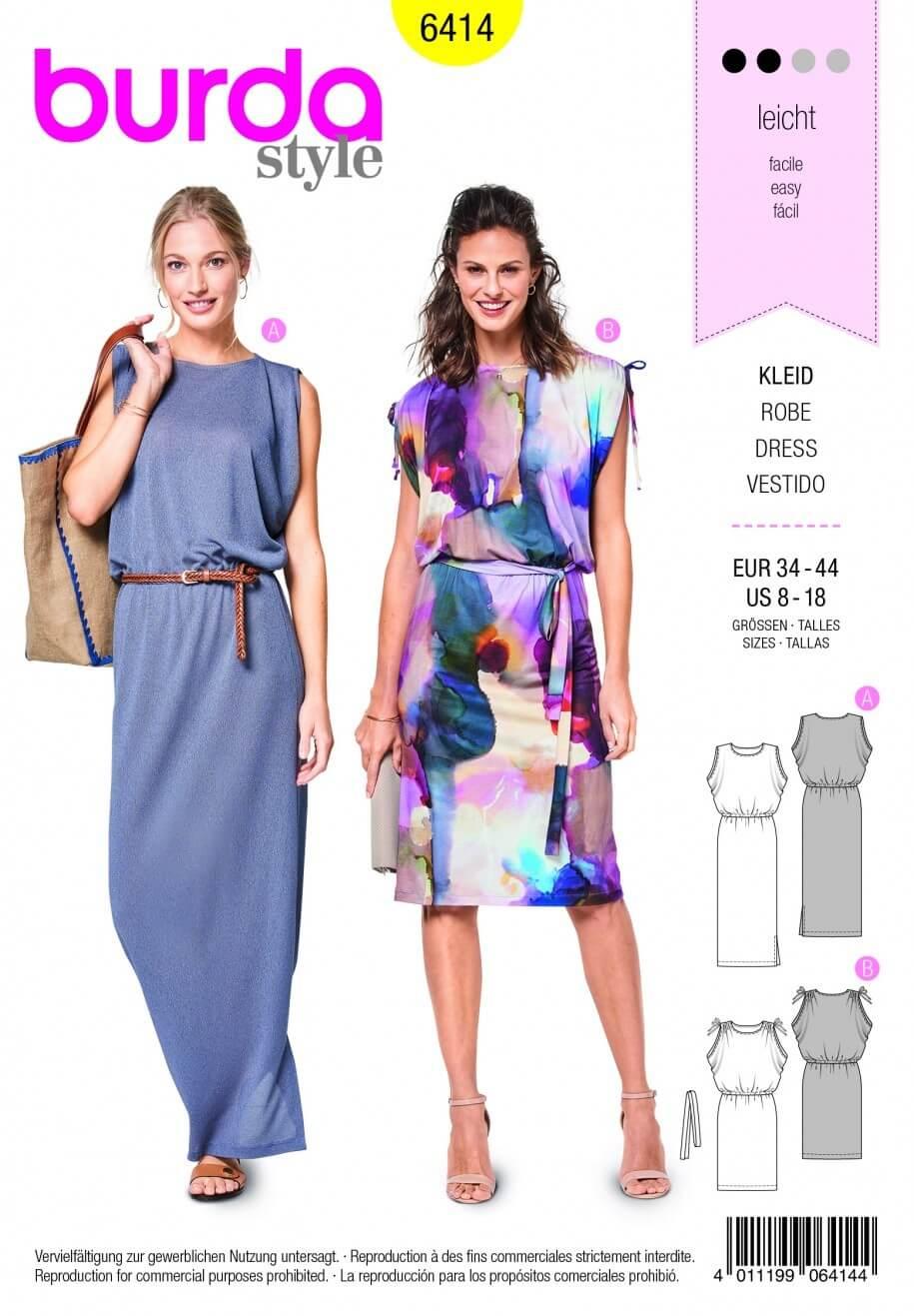 Burda Style Long Short Sleeveless Summer Dress Fabric Sewing Pattern 6414