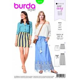 Burda Style Long Short Easy Skirt Fabric Sewing Pattern 6416