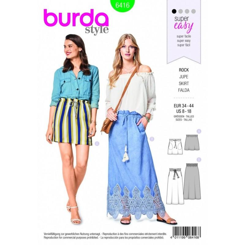Burda Style Misses' Long Short Easy Skirt Fabric Sewing Pattern 6416
