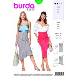 Burda Style Flattering Asymmetric Skirt Fabric Sewing Pattern 6417