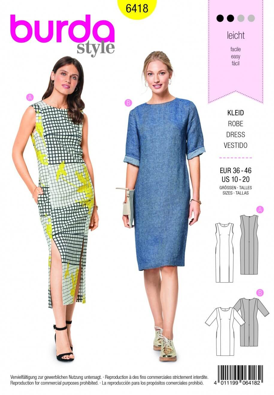 Burda Style Smart Casual Feminine Dress Fabric Sewing Pattern 6418