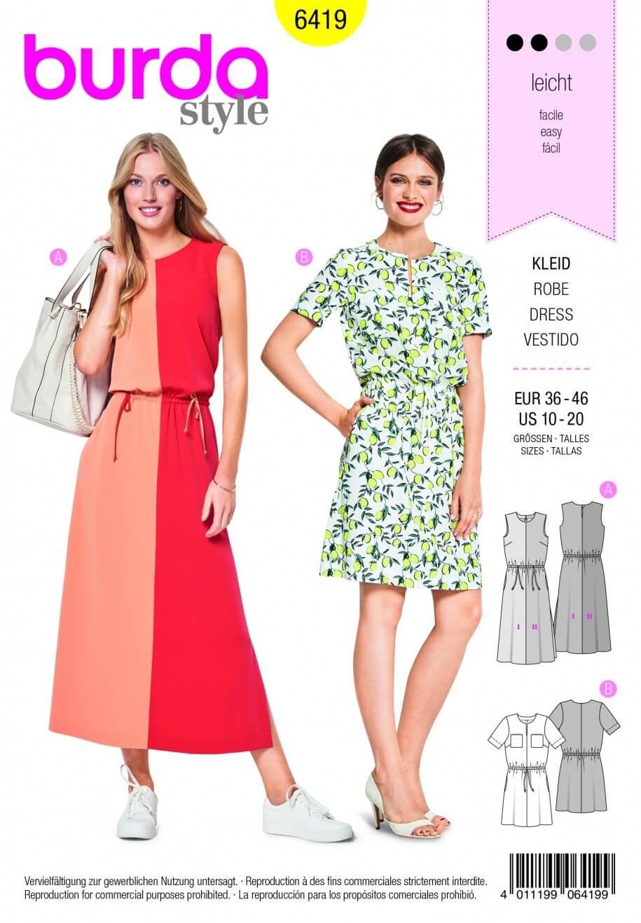 Burda Style Loose Drape Feminine Dress Fabric Sewing Pattern 6419