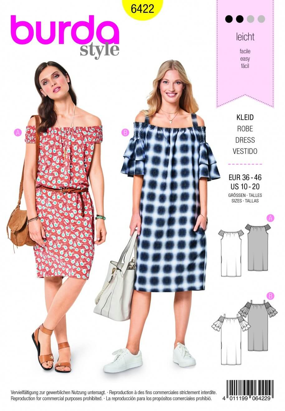 Burda Style Casual Off The Shoulder Summer Dress Fabric Sewing Pattern 6421