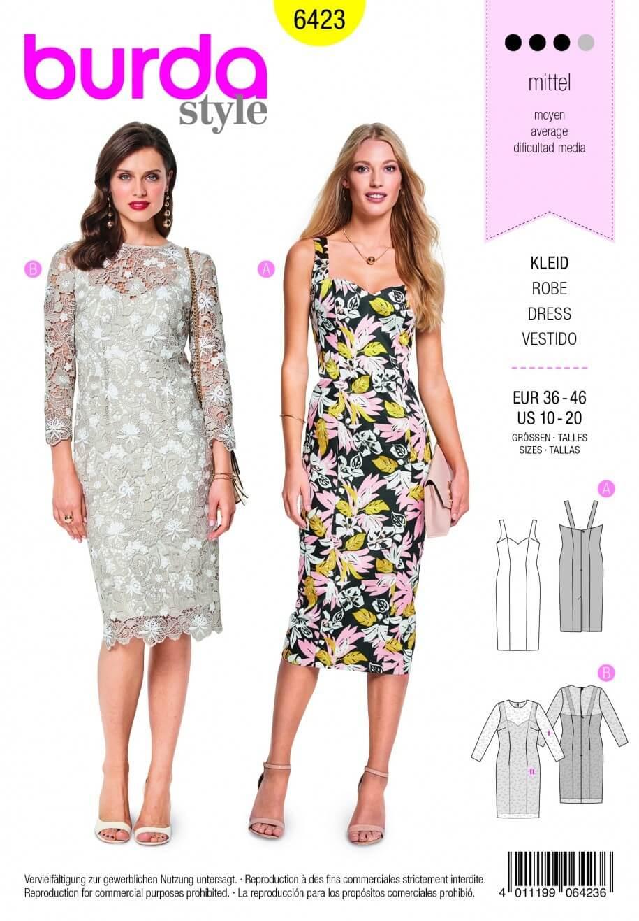 Burda Style Strap Summer Dress Heart Shape Neckline Fabric Sewing Pattern 6423