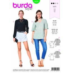 Burda Style Misses' V Neck Top Blouse Fabric Sewing Pattern 6424
