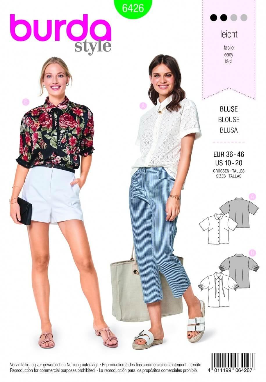Burda Style Summer Shirt Top Blouse Fabric Sewing Pattern 6426