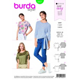 Burda Style Misses' Waist & Sleeve Tie Top Blouse Fabric Sewing Pattern 6427