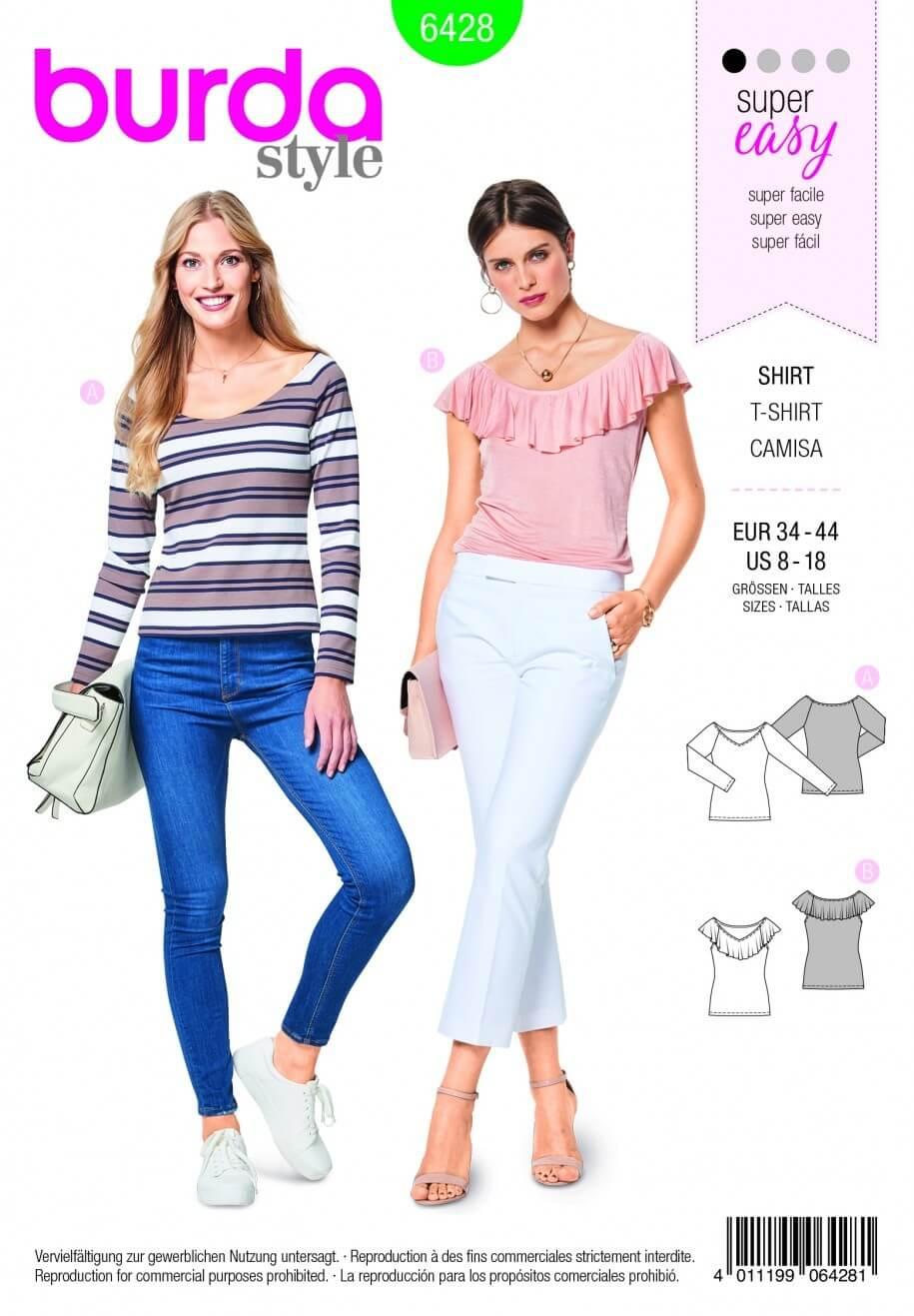 Burda Style Ladies Fitted TShirt Top Fabric Sewing Pattern 6428