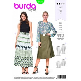 Burda Style 2 Length Pleated Skirt Fabric Sewing Pattern 6430