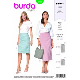 Burda Style 2 Length Pencil Skirt Fabric Sewing Pattern 6431