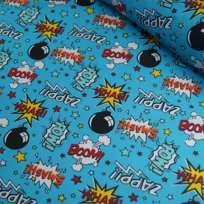 Polycotton Fabric Comic Book Sound Effect Cartoon Turquoise