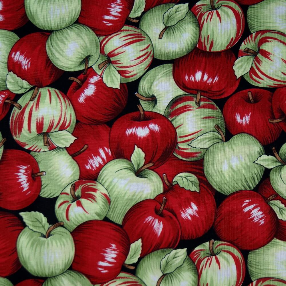 100% Cotton Fabric Nutex Juicy Shiney Fruity Apples