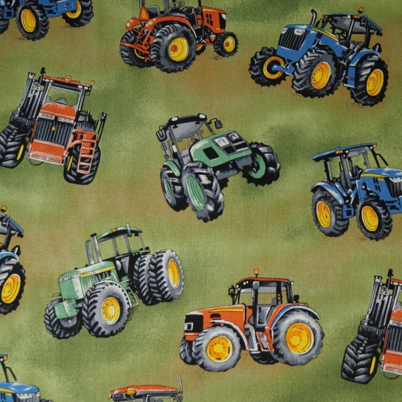 100% Cotton Fabric Nutex Tractor Time Farmyard Fun