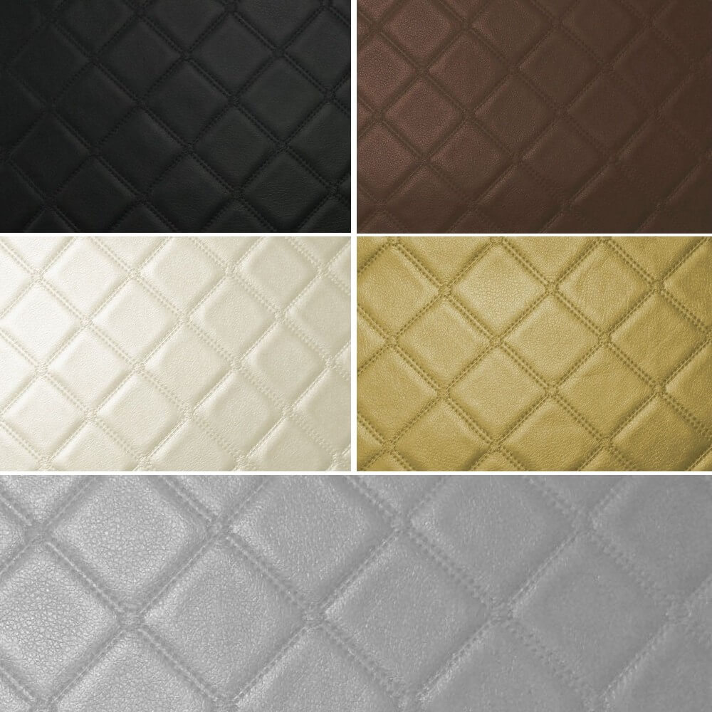 Trellis Vinyl Quilted Style Leatherette Faux Leather Upholstery Material Black