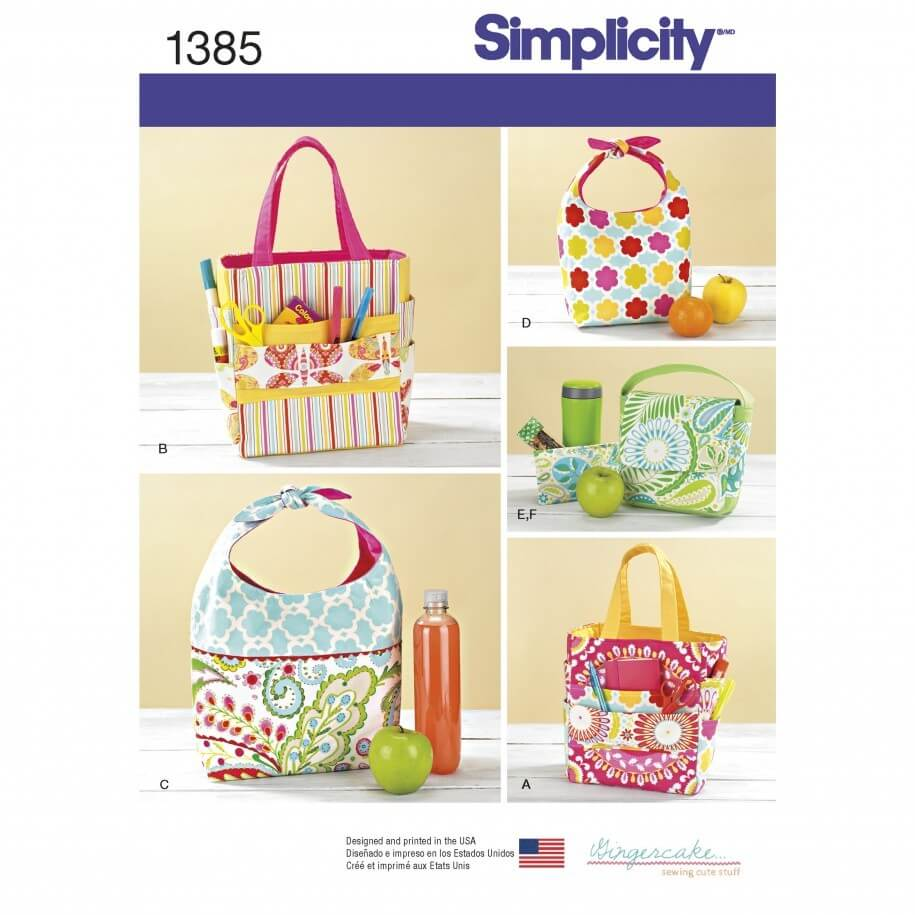 Simplicity 1385 Art Caddies Tote Lunch Bags & Snack Bag Sewing Pattern