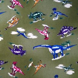 100% Cotton Fabric Nutex Jurassic Dinosaur Multi Colour Col.104 Khaki Green Dinosaur