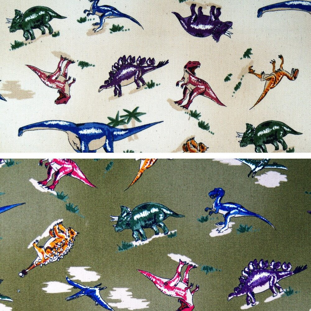 100% Cotton Fabric Nutex Jurassic Dinosaur Multi Colour Col.104 Khaki Green Dinosaur