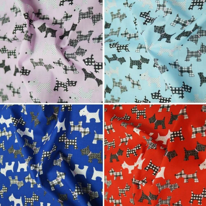 Polycotton Fabric Blue Scottie Dog