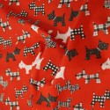 Red Polycotton Fabric Scottish Terrier Scottie Dogs