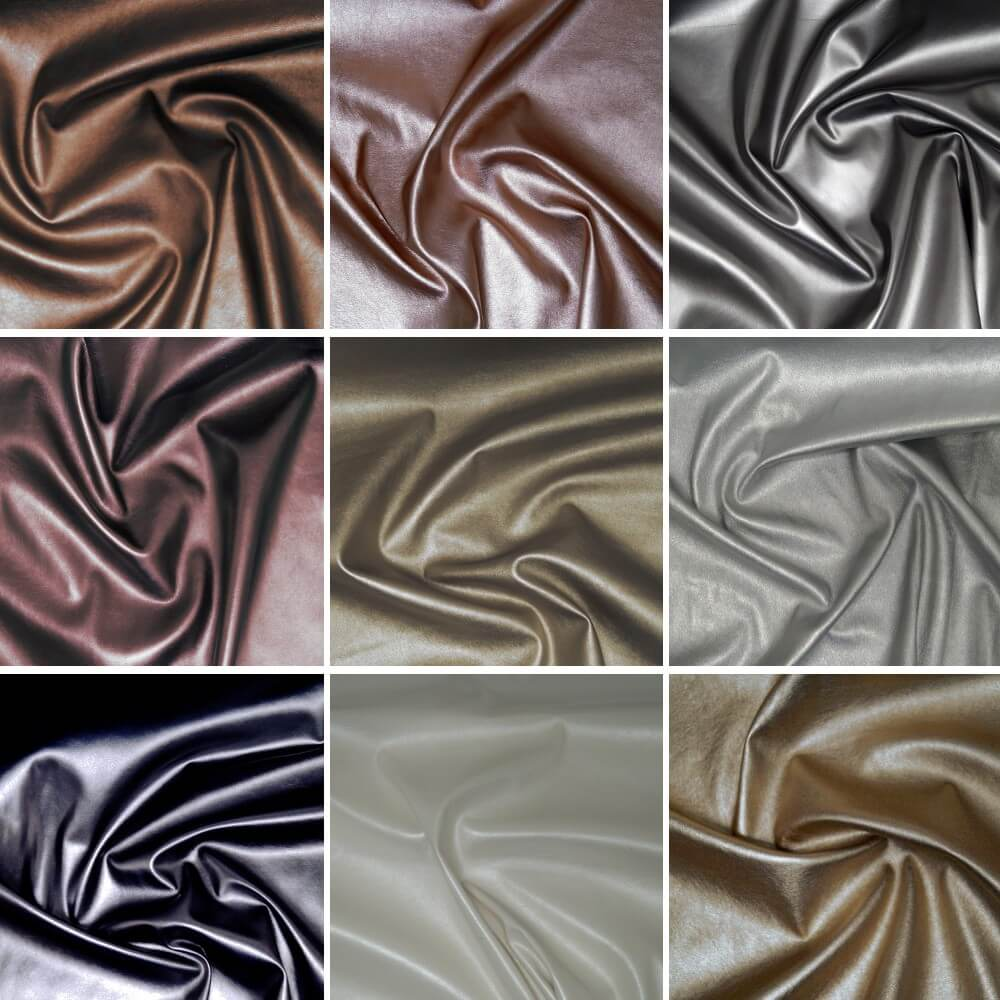 High Shine Metallic Stretch Leatherette Fabric Col 7 Copper