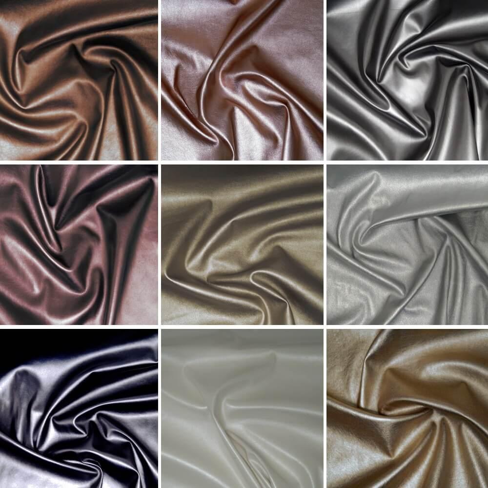 High Shine Metallic Stretch Leatherette Fabric Col 9 Dull Gold