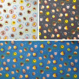 100% Cotton Fabric Clothworks Astronaut Heads Kids & Animals In Space