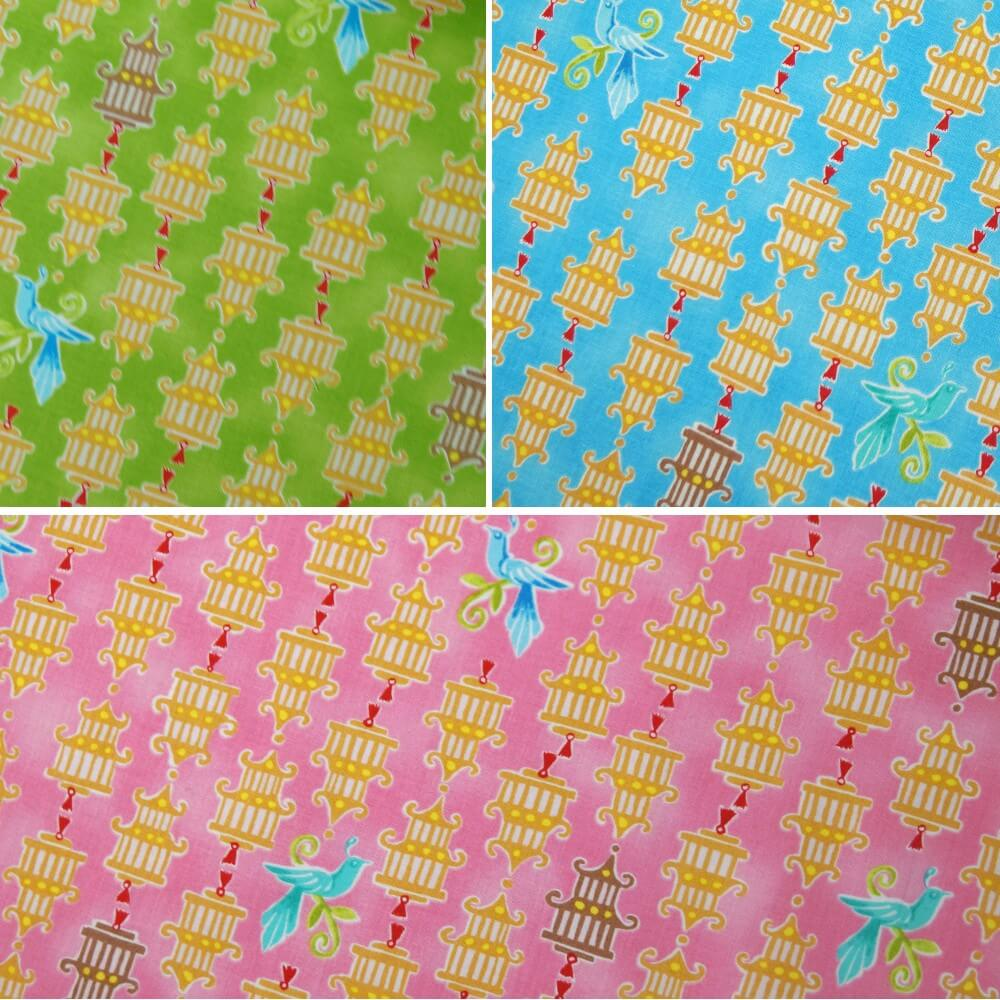 100% Cotton Fabric Clothworks Birds & Bird Cages Lime Green