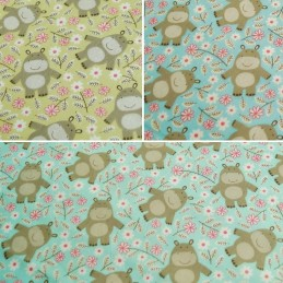 Polycotton Fabric Hippos Hippo Hippopotamus Forest Friends