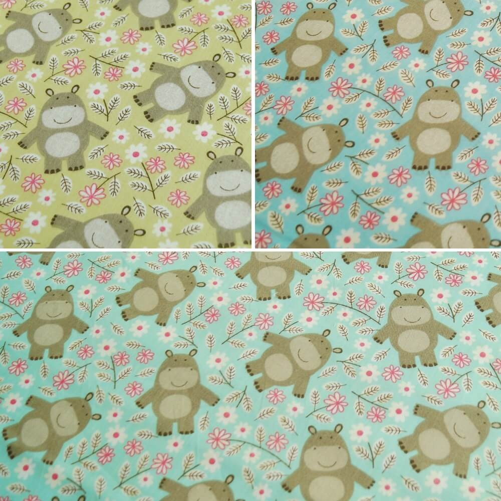 Polycotton Fabric Hippos Hippo Hippopotamus Forest Friends Green
