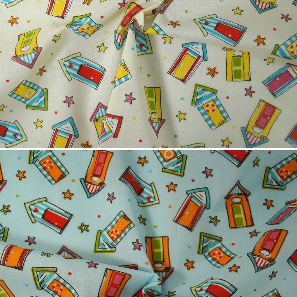 Polycotton Fabric Summer Holiday Beach Huts & Star Fish Shells Ivory