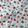 Polycotton Fabric Nautical Sailing Boats, Helms, Mustaches & Stars
