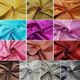 Metallic Crinkle Lame Plain Coloured Fabric Craft Dressmaking