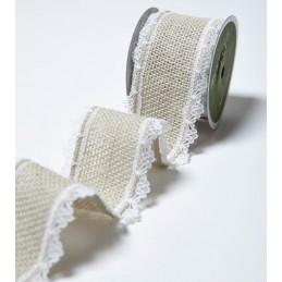 40mm Lace Edge Burlap Hessian Jute Wired Craft Ribbon May Arts