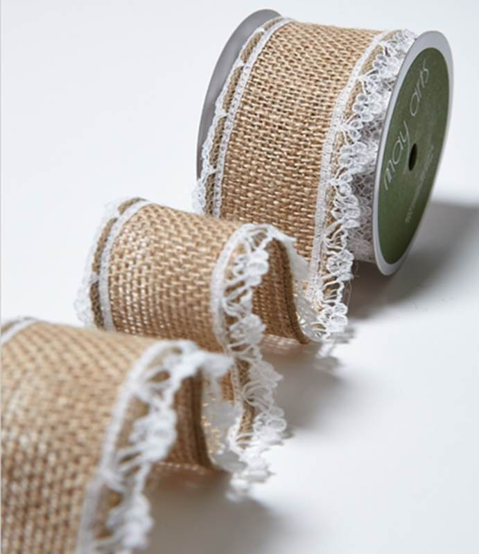 40mm Lace Edge Burlap Hessian Jute Wired Craft Ribbon May Arts