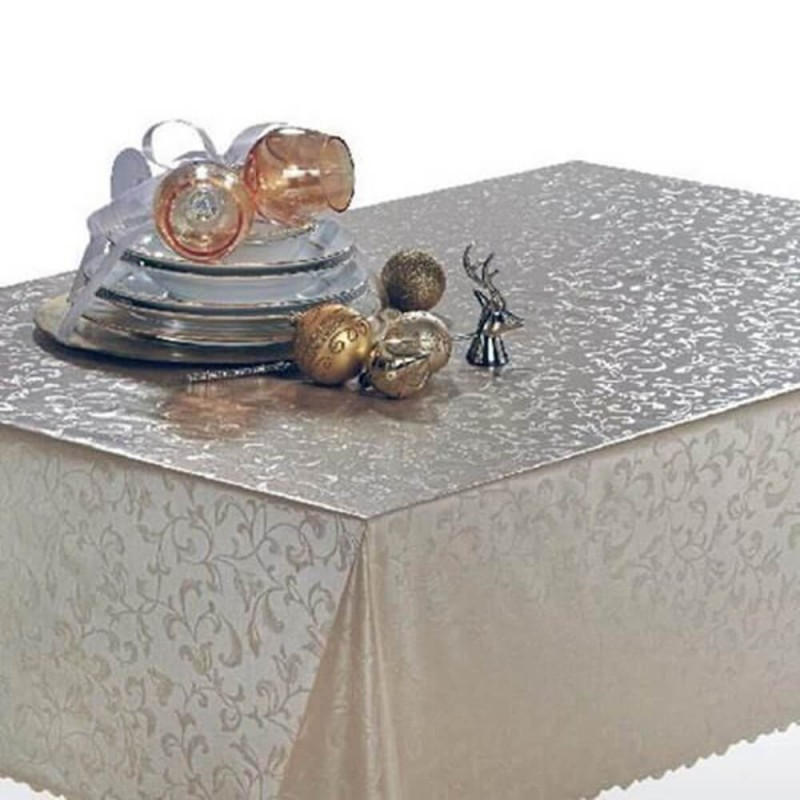 Vinyl PVC Tablecloth Easy Wipe Clean Pearl Floral Vines Silver