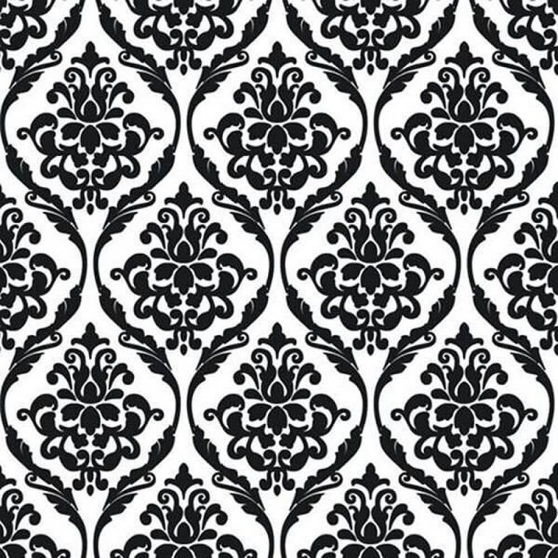 Vinyl PVC Tablecloth Easy Wipe Clean Damask Print Black