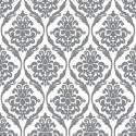 Vinyl PVC Tablecloth Easy Wipe Clean Damask Print Silver