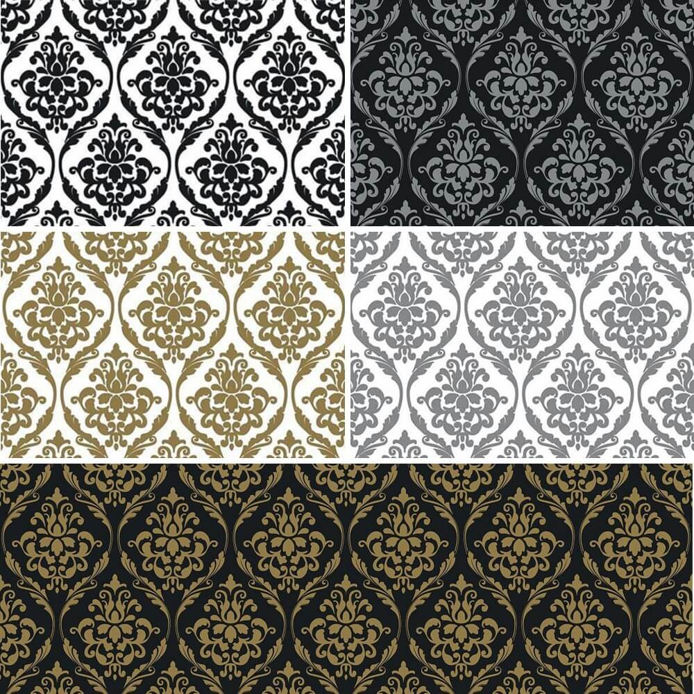 Vinyl PVC Tablecloth Easy Wipe Clean Damask Print Black