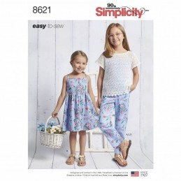 Simplicity Sewing Patterns 8621 Child & Girl Trousers Summer Dress & Top Fabric