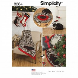 Simplicity Cat Christmas Stocking Tree Skirt Throw Bed & Toys Craft Sewing Patterns 8284