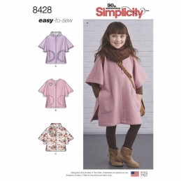 Simplicity Childs Poncho In Two Length 3-8 Years Sewing Patterns 8428