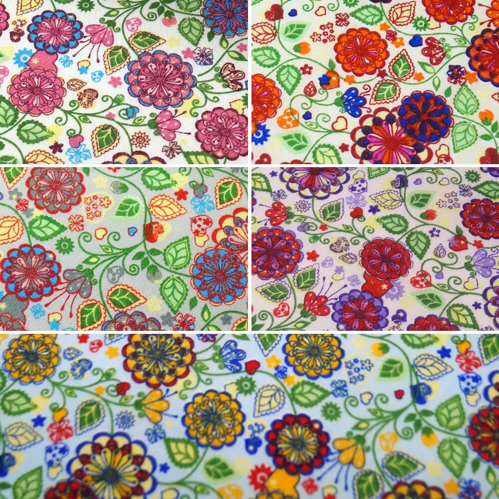 Polycotton Fabric Wild Groovy Flowers, Leaves & Hearts Pink