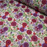Polycotton Fabric Wild Groovy Flowers, Leaves & Hearts Floral