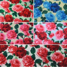 Polycotton Fabric Heathfield Road Large Blooming Roses & Rose Buds Floral Flower