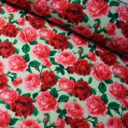 Polycotton Fabric Heathfield Road Red On Sage Green