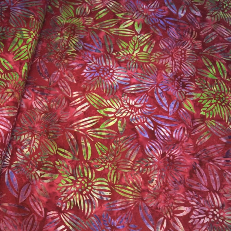 100% Cotton fabric Batik Bali Rain Forest Plants Swirling Palm Leaves Fabric Freedom BK144 Col. A