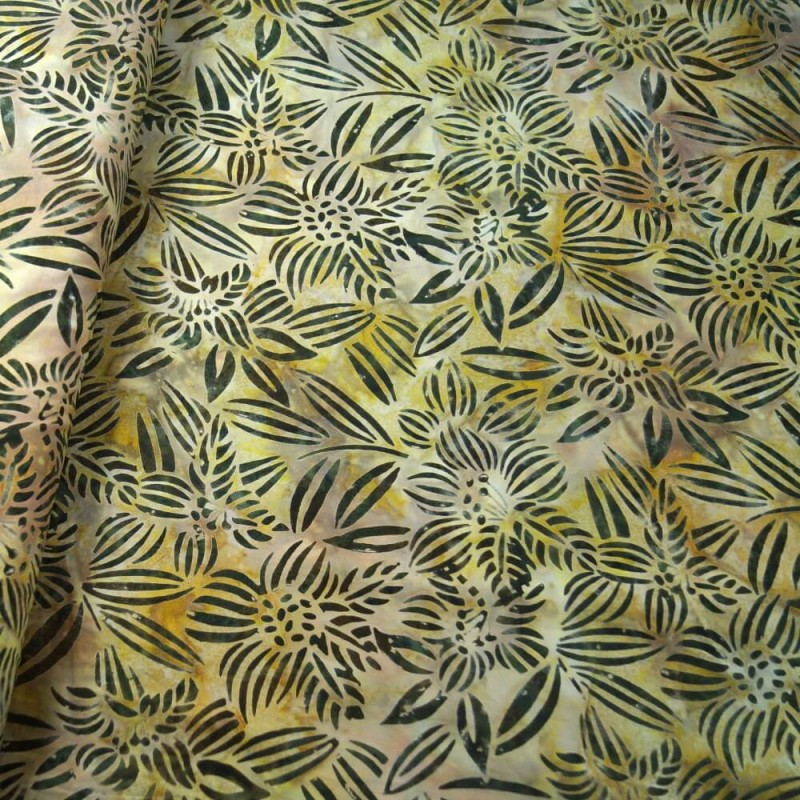 100% Cotton fabric Batik Bali Rain Forest Plants Swirling Palm Leaves Fabric Freedom BK144 Col. C