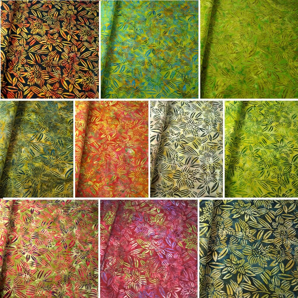 100% Cotton fabric Batik Bali Rain Forest Plants Swirling Palm Leaves Fabric Freedom BK144 Col. I